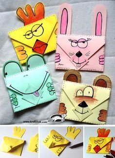 I've done these amplop (envelopes) with the Bali kids but I like the addition of these fun characters. Paper Crafts For Kids, Crafts For Kids To Make, Preschool Crafts, Fun Crafts, Art For Kids, Envelope Origami, Instruções Origami, Diy Projects For Kids, School Projects