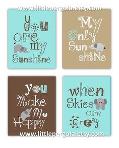 Elephant Art, You are my sunshine Art Prints, 4-8x10 prints, Matches Boy or Girl Nursery, nursery, or playroom on Etsy, $55.00
