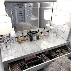 Are you searching for DIY Vanity Mirror and inspiration? Browse our photo gallery and selection of custom vanity mirror Find and save ideas about DIY Vanity Mirror in this article. | See more ideas about Makeup Vanity Table Ikea, Makeup Tables with Drawers and Mirror, Makeup Vanities with Drawers #DIY #Vanity Mirror, #MakeUp