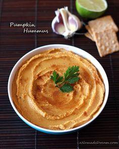This seasonal Pumpkin Hummus includs pumpkin puree, garlic and lime juice. The pumpkin flavor isn't overpowering in this hummus. Pumpkin Hummus, Pumpkin Puree, Healthy Pumpkin, Pumpkin Recipes, Fall Recipes, Chutney, Pesto, Hummus Recipe, Appetizer Recipes