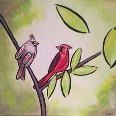 Spring Cardinals, original acrylic painting for sale by artist Maureen McKay Wildlife Paintings, Acrylic Painting Canvas, Paintings For Sale, Cardinals, Disney Characters, Fictional Characters, Spring, Artist, Artists
