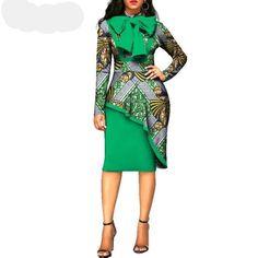 Julux Long Sleeve Cotton African Print Sheath Long Sleeve Dress