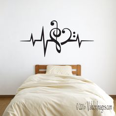 Heartbeat Music Lover Wall Decal Heart Stickers Decor