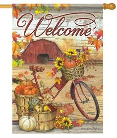 Here is a country, fall themed house flag that features an antique bicycle all…