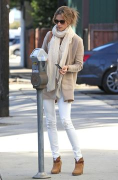 white jeans after labor day with neutral cardigan and scarf