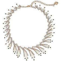 Betsey Johnson Crystal/Gold Spray Frontal Necklace (Crystal) Necklace ($46) ❤ liked on Polyvore featuring jewelry, necklaces, gold pendant necklaces, gold jewelry, yellow gold pendant necklace, betsey johnson necklace and adjustable chain necklace