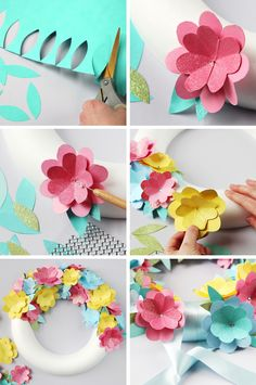 How to make a simple Diy Spring Paper Flower Wreath. by Λήδα Simple Paper Flower, Paper Flower Wreaths, Paper Flowers Diy, Flower Crafts, Flower Art, Diy And Crafts, Crafts For Kids, Paper Crafts, Festa Moana Baby
