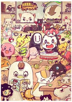 How many can you see? Studio Ghibli, Ouran High School Host Club, Digimon, Pokèmon, Kirby, Cardcaptor Sakura, Super Mario, Sailor Moon, Hetalia, Blue Exorcist, Puella Magi: Madoka Magica, One Piece, Avatar: The Last Airbender, Bleach, Adventure Time