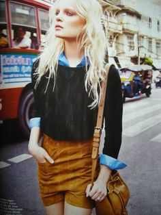 suede shorts and denim shirt Grunge, Vogue, Inspiration Mode, New Fashion Trends, Belle Photo, Passion For Fashion, Fashion Beauty, Uk Fashion, Street Fashion