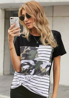 Take comfort with our Ultimate T with Camo, this will be the perfect tee for any occasion. It feature camo mixed with stripes to make a statement. This is a good choice to replace all your old tees in your wardrobe. Pair it with shorts or skinny jeans for a weekend at the Kruger National Park. Womens Fashion Online, Latest Fashion For Women, Blouses For Women, T Shirts For Women, Camouflage Shorts, Casual T Shirts, Comfortable Fashion, Summer Tops, Tunic Tops