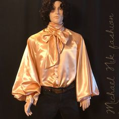 432a822f89a2 Vintage Gold Men's Satin Shirt/ Extra Long Raglan Sleeves Dressy Shirt In  Sizes S M L XL XXL 3XL / English Regency Clothing / Formal Shirt