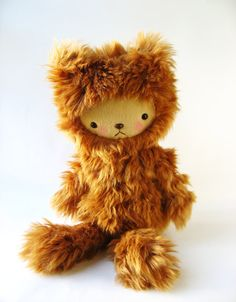 Kawaii Teddy Bear Plushie Textured Rust Colored by bijoukitty