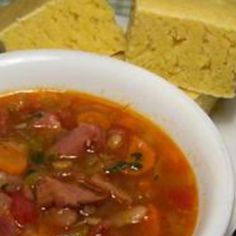 I love ham bone soups and I've tried many recipes til I found this one! Its the best one I ever had! I tweaked it to suit my taste. I like to serve this with cornbread (of course lol!) I'll post the recipe I use for that too! Its a good one also! I added my photo!