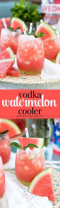 Vodka Watermelon Cooler - Ingredients    8 cups fresh watermelon cubed    2 Tbsp lime juice    2 Tbsp honey    1 cup water    1/2 cup vodkaFor layering and garnish (optional):    sour apple pucker    fresh mint leavesInstructions    In a blender, add watermelon, lime juice, honey, and water and blend until fully pureed.    Pour through fine mesh strainer to remove pulp and seeds. Add vodka and stir to combine.    Pour over ice and garnish with watermelon slices and mint leaves