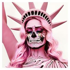 (5) Lady Liberty skull makeup via @the_wigs_and_makeup_manager |... ❤ liked on Polyvore featuring beauty products and makeup