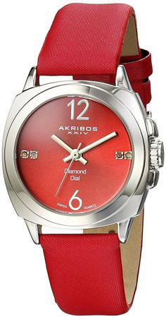 Akribos XXIV Women's AK742RD Swiss Quartz Movement Watch with Red Sunburst Effect Dial and Red Satin over Nubuck Leather Strap >>> Find out more details by clicking the image (This is an amazon affiliate link. I may earn commission from it)
