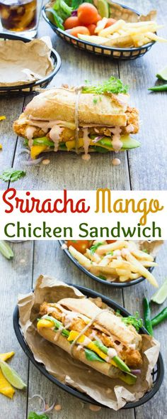 Spicy Sweet Sriracha Mango Chicken Sandwich. The ultimate fried chicken sandwich to curb your cravings--sweet, spicy, quick, easy and utterly delicious!! get the recipe and this for many variations on jazzing up your chicken sandwiches. www.twopurplefigs.com