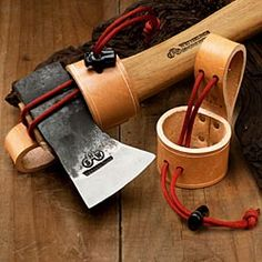 The heavy-duty Leather Axe Holster is the perfect accessory for your favorite axe for yard work or the garden.