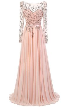 Elegant A-line Scoop Prom Dresses,Floor Length Pink Chiffon Prom/Evening Dress With Long Sleeves,111044024