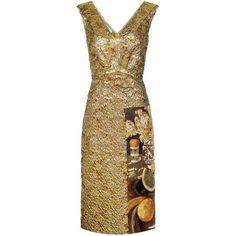 Prada Fructidor Cloqué Jacquard Dress (€2.660) ❤ liked on Polyvore featuring dresses, prada, gold, prada dresses, multi-color dress, brown dress and colorful dresses