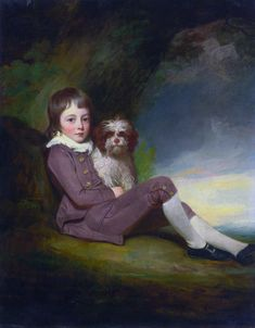 George, Lord Brooke (1772–1786), son of George Greville, 2nd Earl of Warwick  (1772–1786), [and his pet pooch], by George Romney