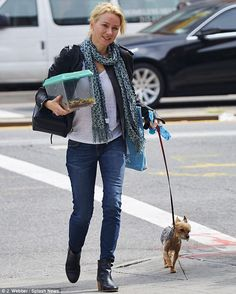 Casual chic: The actress added some flair to her outfit with a scarf...