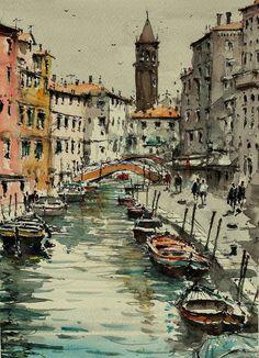 "Saatchi Art Artist maximilian damico; Painting, ""Canals in Venice"" #art"