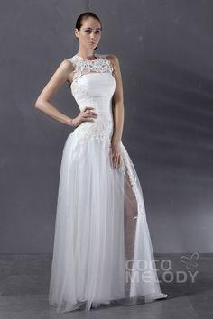 Simple Sheath-Column Illusion Floor Length Tulle Ivory Wedding Dress CWXT13009Cocomelody#weddingdresses#bridalgowns#