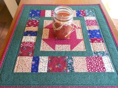 Country Colors Quilted Table Runner/ Scrap Quilt Churn Dash Pattern, Red,Blue,Green and Beige Prints by RubysQuiltShop on Etsy