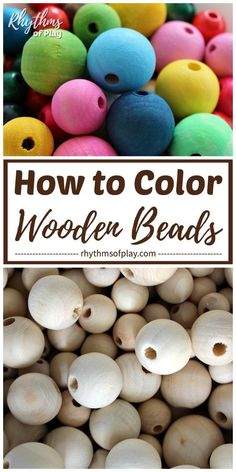 How to Color Wooden Beads: 3 Easy Methods!, DIY and Crafts, How to Color Wooden Beads! We've got 3 different methods to help you change the look of your wooden beads. Whether you're looking to color, paint or d. Crafts For Teens To Make, Crafts To Sell, Diy And Crafts, Wood Bead Garland, Beaded Garland, Christmas Bead Garland, Rag Garland, Easter Garland, Christmas Ornament Crafts
