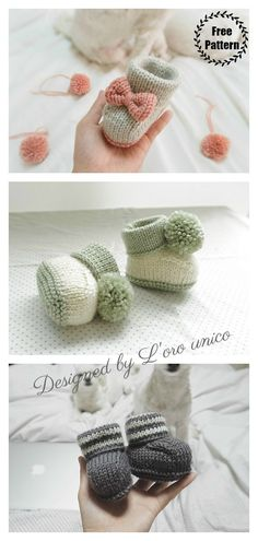 The Bon Baby Booties Free Knitting Pattern only uses simple stitches and has very simple base. They make fabulous DIY baby gifts. Baby Booties Knitting Pattern, Knitted Booties, Crochet Baby Booties, Knitted Headband Free Pattern, Pattern Baby, Baby Bootees, Baby Patterns, Knitting For Kids, Free Knitting