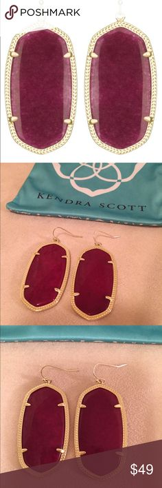 Kendra Scott 'Danielle' Earrings in Maroon Jade Perfect Condition- Only Worn a Few Times- Comes with Kendra Bag. Kendra Scott Jewelry Earrings