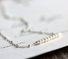 Image of Pearl Necklace Small Freshwater Pearls on Beaded Sterling Silver Chain