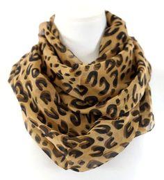 Leopard-Animal-Print-Brown-Black-Chiffon-Infinity-Scarf-Boutique-BNWT