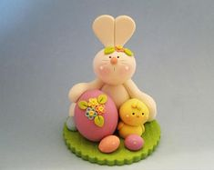 Bunny - Chick - Easter Egg - Polymer Clay - Spring - Easter - Figurine