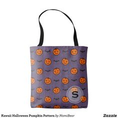 Kawaii Halloween Pumpkin Pattern Tote Bag by NamiBear on Zazzle.com. This is a pattern of a smiling carved pumpkin with bats. The color of orange, purple, and black  adds to the feeling of fall and Halloween. The background has a texture that gives a bit of a grunge look. Your initial can be printed on this design.