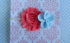 Shabby Flower Headband in Coral and Blue