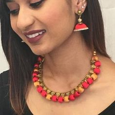 Handmade Silk Thread Necklace Set – Sarang Silk Thread Necklace, Thread Jewellery, Long Tassel Earrings, Necklace Set, Silk Sarees, Jewelry Sets, Handmade, Color, Fashion