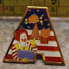 McDonalds Ronald USA Flag Letter A Alphabet Collectible Pinback Pin Button 2000 #McDonalds
