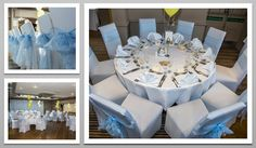 Baby blue colour schemed venue dressing. Baby blue organza chair sashes. You can hire venue dressing like this at Natalija.Co Event Planning, find us on facebook, or visit our website, www.natalija.co.uk