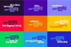Omaha Performing Arts Geometric Font, Jazz Art, Visual And Performing Arts, Young Art, Greek Words, New Names, Print Magazine, Logo Color, Social Media Design