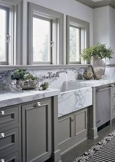 Gray cabinets.