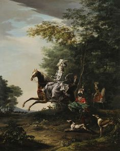 As her husband Louis XVI, the Queen Marie-Antoinette was found of hunting, She is represented by Louis-Auguste Brun as a sidesaddle rider with her servant,...