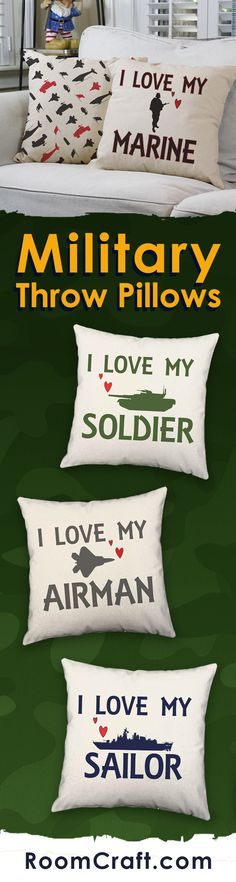Whether your loved one is a soldier or a sailor, these military throw pillows will show them just how much you care. Each design is offered in multiple fabrics, colors, and sizes making them a great addition to any room, office or library. Our quality military family pillow covers are made to order in the USA and feature 3 wooden buttons on the back for closure. Choose your favorite and create a truly unique pillow set. #roomcraft