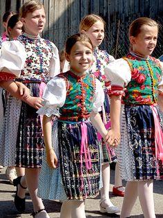 Girls in traditional dresses, called 'kroj'. Taken in Jakubany, Slovakia.