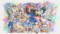 Sonic and friends Sonic The Hedgehog, Silver The Hedgehog, Shadow The Hedgehog, Sonic Underground, Rouge The Bat, Cast Art, A Hat In Time, Sonic Fan Art, Cool Bands