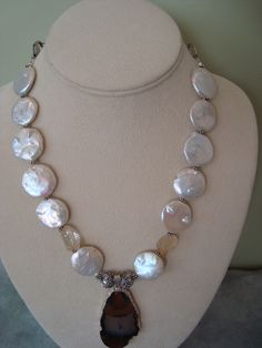 New Fall necklace with freshwater pearls, agate pendant, bali silver and citrine. Available at my Etsy Store!