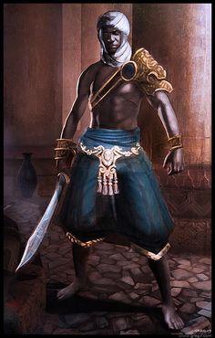 Arabian Assassin by gregmks on DeviantArt High Fantasy, Fantasy Rpg, Black Characters, Fantasy Characters, African American Art, African Art, Fantasy Inspiration, Character Inspiration, Character Portraits