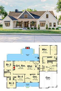 Farmhouse Architecture, Modern Farmhouse Interiors, Modern Farmhouse Plans, Farmhouse Decor, New Home Plans, House Construction Plan, Architectural Design House Plans, Sims Ideas, Contemporary Cottage
