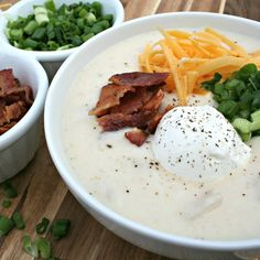 Slow Cooker Baked Potato Soup, makes a ton of soup, great for company